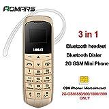 LONG CZ J8 plus petit téléphone Bluetooth 3 en 1 mini téléphone Bluetooth dialer Bluetooth écouteur soutien 2G GSM 850/900/1800/1900 seulement iPhone 4 Mini carte SIM changeur de voix FM MP3 99,99% en plastique patron téléphone 18 Gram (Golden)