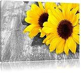 schöne Sonnenblumen auf Holztisch schwarz/weiß Format: 120x80 auf Leinwand, XXL riesige Bilder fertig gerahmt mit Keilrahmen, Kunstdruck auf Wandbild mit Rahmen, günstiger als Gemälde oder Ölbild, kein Poster oder Plakat