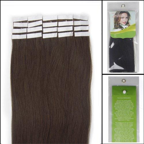 45,7 cm Bandes adhésives Extensions de cheveux humains droite Couleur 02 Marron foncé 40 g 20 pièces Beauté Cheveux Style