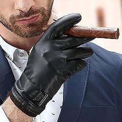Malloom® Hombres Invierno lujo Guantes de cuero antideslizantes Conducir cachemira guantes calientes (L)