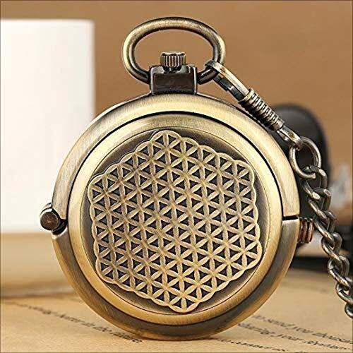 FAN-FASHION Taschenuhr, Doppelhohl Radkappe Kreativ Mit Handaufzug Mechanische Uhr, Herren-Bronze Taschenuhr Kette Geschenk sehen