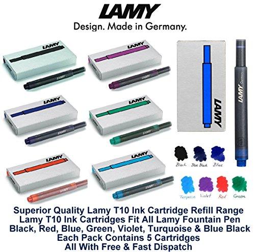 Rango de recarga de cartuchos de tinta Lamy T10 de calidad superior. Los cartuchos de tinta Lamy T10 se adaptan a todas las plumas estilográficas Lamy. Gama completa de 7 colores - negro, rojo, lavable azul, verde, púrpura / violeta, turquesa y negro...