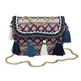 ALIKEEY Vintage Mujeres Tejiendo Borla Bolso De Hombro Messenger Bag Bolso Crossbody Bolsa De Playa Michael Kors