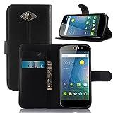 Tasche für Acer Liquid Z530 Hülle, Ycloud PU Ledertasche Flip Cover Wallet Case Handyhülle mit Stand Function Credit Card Slots Bookstyle Purse Design schwarz