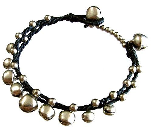 artisanat-asiatique-bracelet-fait-main-chane-de-cire-perles-en-rhodium-cloche-couleur-noir-thalande