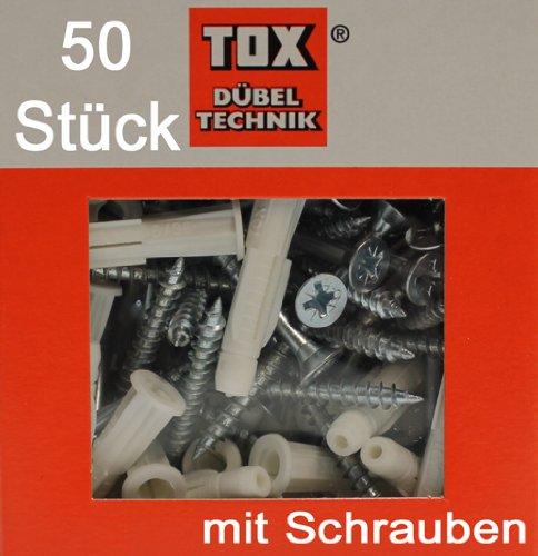50 Stück TOX Allzweck Dübel TRIKA 6x37, mit Schrauben 4,5x50, TRIKA 6/37 S