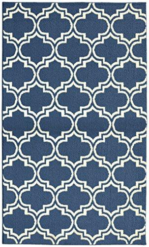 Girlande Teppich Silhouette Bereich Teppich, Polypropylen, Blue Denim/Ivory, 5-' by -7'