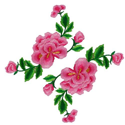 rs Pfingstrose Blumen auf Rebe Bestickte Applikationen Nähen oder Bügeleisen auf Patches-Rose ()