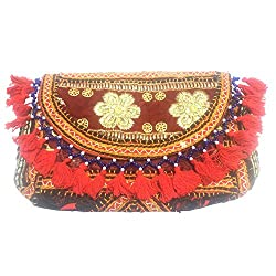53rd Trading P40 Handcrafted Rajasthani Ethnic Clutch Bag, 25 cm x 17 cm x 3 cm