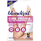 Blondepil HAUTE PERFORMANCE - 40 Bandes Cire Froide pour Corps/Jambes + 6 Lingettes Post Epilation