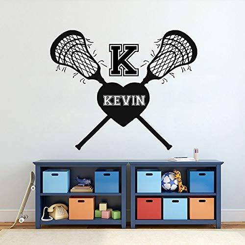 Lacrosse Vinyl Wandaufkleber Personalisierte Benutzerdefinierte Name Entfernen Aufkleber Kinderzimmer Schlafzimmer Kindergarten Dekoration Poster A 42 * 51 cm -