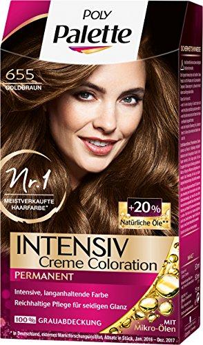 Poly Palette Intensiv Creme Coloration, 655 Goldbraun Stufe 3, 3er Pack (3 x 115 ml)