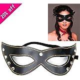 Cuero barato venda Sexy Eye MASK Máscara Masque servidumbre parche ayuda sexo parte divertido coquetear Juguetes sexuales para parejas adultos Mujer Hombre,Black Mask