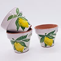 n.3 Vasi da fiore diametro 6 centimetri Limoni Handmade Le Ceramiche del Castello Made in Italy