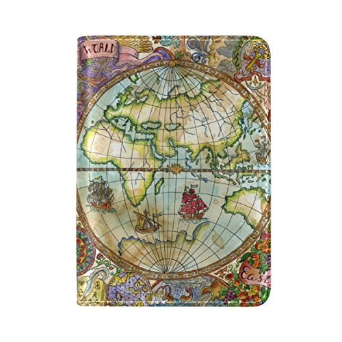 ALAZA Vintage Titular Pasaporte Cuero Mapa Mundo Cubierta
