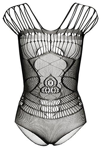 HO-Ersoka Damen Body Teddy Einteiler Netz fein mit Cut-Outs schwarz XS-M -