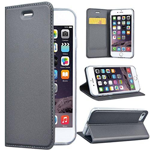 SMART LEGEND Lederhülle für iPhone 7 Ledertasche, iPhone 8 Hülle Grau Schutzhülle Premium PU Leder Flip Case Protective Cover Innere Transparent Weiche Silikon Bookcase Handy Tasche Schale mit Magnet Standfunktion Etui (Magnete Tasche)