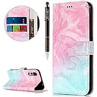 Huawei P20 Pro Hülle,Huawei P20 Pro Ledertasche Handyhülle Brieftasche im BookStyle,SainCat Retro 3D Muster Marmor... preisvergleich bei billige-tabletten.eu