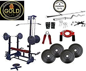 GOLD FITNESS 20-in-1 Bench 2x2 Double Supported Pipe 150kg, 50kg Rubber Plate, 3ft/20mm Curl and 5ft/25mm Plain Rod (GP-00321093)