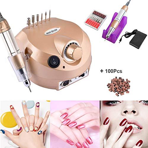 Fresa Per Unghie Elettrica Lima per unghie - manicure set fresa per unghie Plus 6bits 30.000 RPM elettrico + 100 pezzi nastri abrasivi con basso rumore e vibrazione