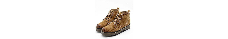 ZHZNVX HSXZ Zapatos de Mujer Suede Primavera Otoño Botas Comfort Plano Redondeado Toe Botines/Botines de Casual... -