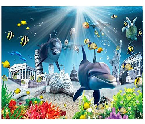 WORINA 3D Wallpaper Mural Antike Architektur Dolphin Unterwasser Welt Tv Hintergrund Wandbilder Dekoration, 150X105 Cm (59.1 Von 41.3 In) (Unterwasser-schlafzimmer)