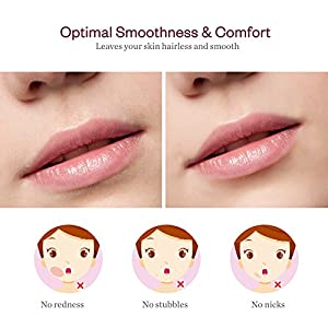 Facial Hair Remover for Women, Anjou Painless Facial Hair Trimmer for Peach Fuzz, Chin Hair and Upper Lip Moustaches, Battery Operated with Built-in LED Light