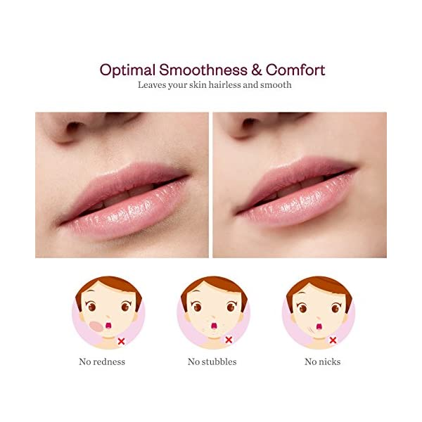 Facial Hair Remover For Women Anjou Painless Facial Hair Trimmer For Peach Fuzz Chin Hair And Upper Lip Moustaches Battery Operated With Built In LED Light