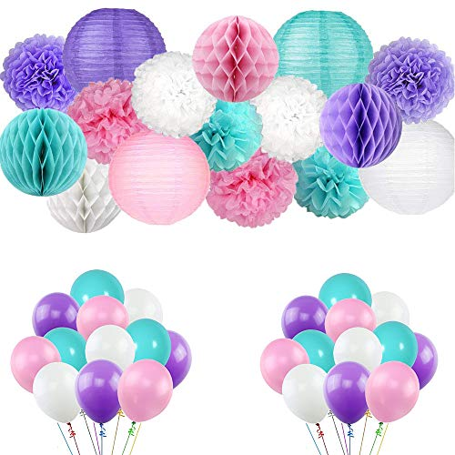 Kalolary mermaid party supplies & party decorations, happy birthday decorations supplies for girls festa di compleanno, baby shower, addobbi natalizi