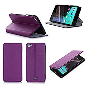 Etui Wiko Pulp FAB 4G/LTE violet luxe Ultra Slim Cuir Style avec stand - Housse Folio Flip Cover coque de protection smartphone Wiko Pulp FAB 4G violette - Accessoires pochette XEPTIO : Exceptional case !