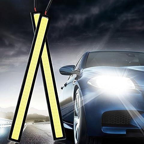 Mihaz 2pcs 17cm 12W Resistencia de agua LED 12V luz de día DRL COB Franja de lámpara de la niebla coche DRL Luz de conducción de la lámpara (17 cm COB