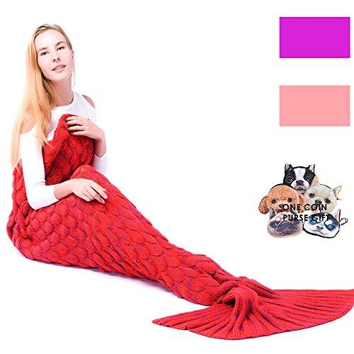 gearfan Mermaid Decken Queen Erwachsene Kinder Damen Super Soft Meerjungfrau Schwanz Decke Strick für Couch Sofa Bett Office Outdoor Auto Wirft (71inch32inch) Casual rot (Liege Lange Sherpa)
