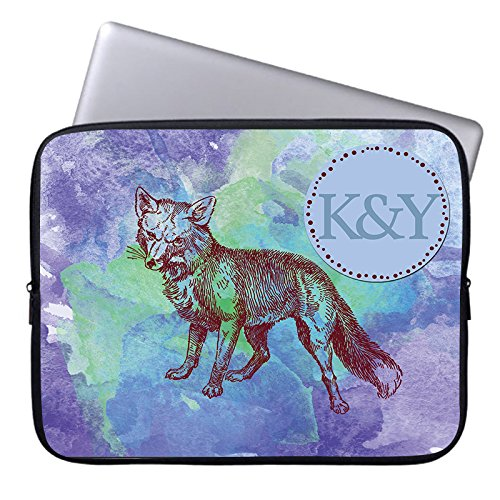 Monogrammed Initials on Computer Sleeve 17 17.3 Inch Personalized Netbook Tablet Wolf Laptop Case Soft Neoprene Sleeve Case Cover for SONY VAIO E17 / 17.3