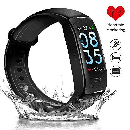 "ODLICNO Fitness Armband IP67 Wasserdicht Fitness Tracker Aktivitätstracker mit 0.96\"" Display Pulsmesser Schrittzähler Schlafmonitor Vibrationsalarm Anruf SMS für Frauen Männer Kinder iOS Android Handy"