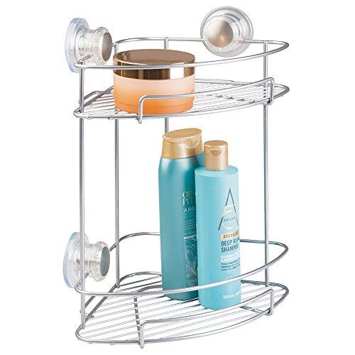 mDesign Eck-Duschablage mit praktischen Saugnäpfen, Silber - Duschregal mit Zwei Etagen ohne Bohren für Shampoo, Duschgel, Rasierer etc. -