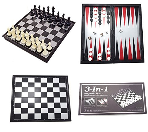 Shine 3 EN 1 XL Cheques DE AJEDREZ MAGNÉTICOS Backgammon 32x32 CM AJEDREZ MAGNETICO DE Viaje