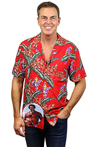 Original Hawaiihemd | Herren | Kurzarm | Front-Tasche | Hawaii-Print | Tom Selleck Jungle Bird Magnum | Rot