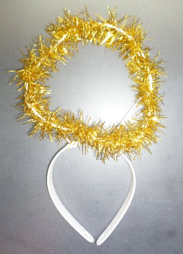 Dress Angels Fancy (One Size Gold Tinsel Halo Headband - Angel/Christmas Fancy Dress (HW207))