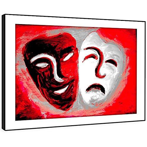 (BFAB674C gerahmte Druckwandkunst - Rot-Theater-Maske Kunst Moderne Abstrakte Landschaft Wohnzimmer Schlafzimmer Stück Wohnkultur Leicht Hang Guide (58x41cm))