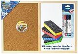 Idena 568016 Pinnwand & Whiteboard mit Holzrahmen, 40 x 60 cm, inkl. 2 Schrauben / Komplett-Set (inkl. Marker, Löscher & Nadeln)