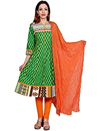 Rama Green Color Cotton Long Anarkali Kurta With Legging & Dupatta Set