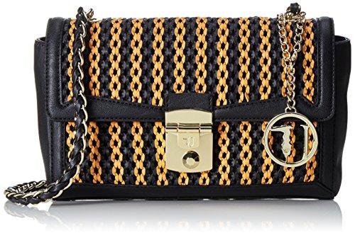 Trussardi 75bm0553, Borsa a Tracolla Donna, 26 x 17 x 11 cm (W x H x L) Nero (Orange/Black)