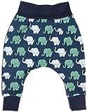 Baby Pumphose Elefanten Dunkelblau Baby-Hose für Junge Jerseyhose Haremshose - produziert in Deutschland (50/56)