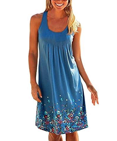 Yidarton Women's Summer Sexy Sleeveless Mini A-Line Dress Casual Floral Printed Beach Dresses