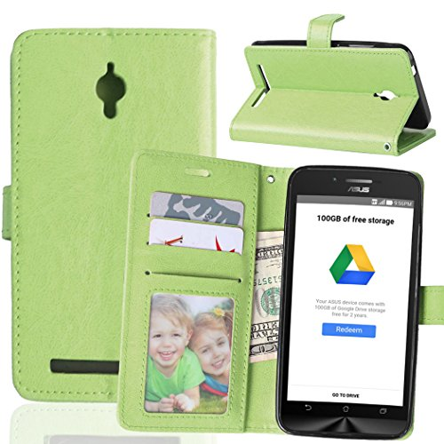 ASUS Go ZC500TG Hülle, FUBAODA Flip PU Leder Brieftasche Hülle + Kostenlos Syncwire Ladekabel, mit ID / Bargeld / Karten Aussparrung und Ständerfunktion für ASUS ZenFone Go ZC500TG (grün)