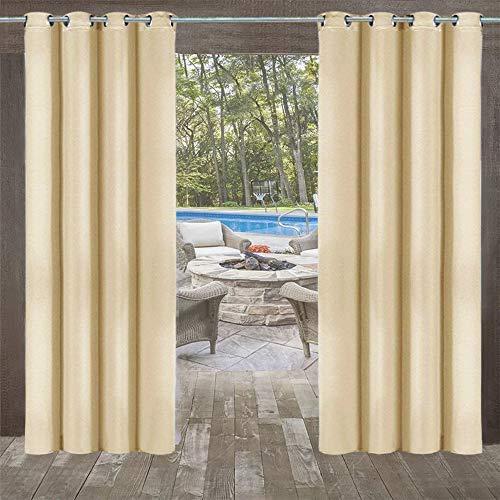 DOMDIL Outdoor Vorhänge 4 Stück Gartenlauben Balkon-Vorhänge Gardinen Verdunkelungsvorhänge mit Ösen, Vorhang Wasserdicht Mehltau beständig, Pavillon Strandhaus, 132 * 235cm