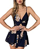 Gorgeya Women Playsuit Summer Sexy V Neck Short Jumpsuit Backless Sleeveless Spaghetti Strap Floral Print Romper Suits for Ladies Beach Party Holiday S