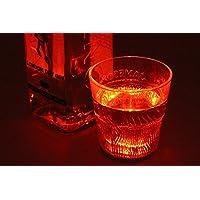 2 PZ Luce Led Sotto Bottiglia Vino Sottobicchiere Colore Rosso