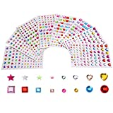 Selbstklebende Strasssteine Aufkleber Vielfärbig Verschiedene Formen, 4 Größe, 8 Blätter, 674 Stück