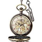 """Regalo de papá Día del padre JewelryWe Reloj de bolsillo bronce retro, """"DAD"""" Padre Papá, hombre reloj debolsillo mecánico, colgante grande bronce hombre"""